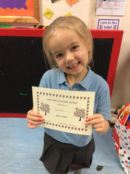 Week 6- Scarlett for working hard during Cool time to challenge herself.