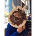 We made dinosaur masks.