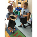 Exploring a beat with instruments.