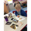 Scarlett looked at the photos to see what book we are reading.