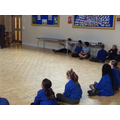 Learning some more body percussion with our music visitor