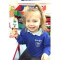 Kara made herself a stick puppet of Goldilocks.