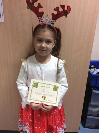 Maths award for working really well on exchanging a ten for 10 ones when subtracting.