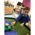 Leo loved using the props to act out The Three Billy Goats Gruff story.