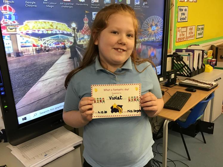 Violet achieved a great score on her assessments this week.
