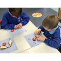 Looking for seeds in fruit