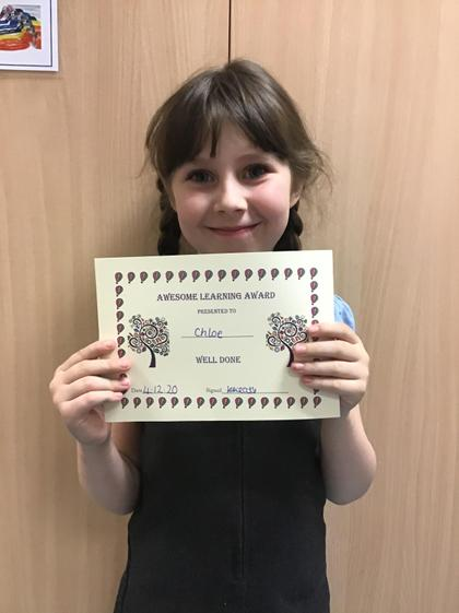 Awesome learning award for never giving up.
