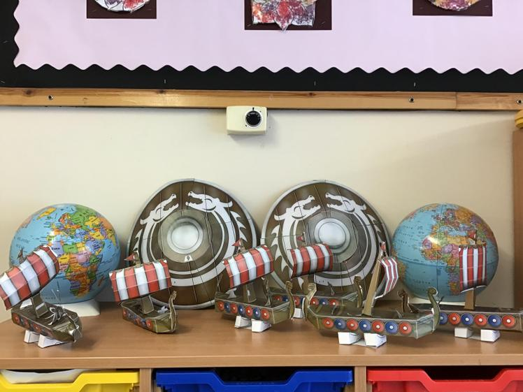 A selection of Long Ships and Shields made by children in Thrive
