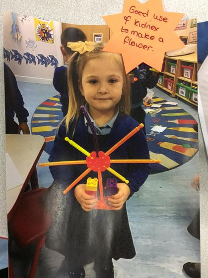Marcella made a lovely flower with the construction, well done Marcella.