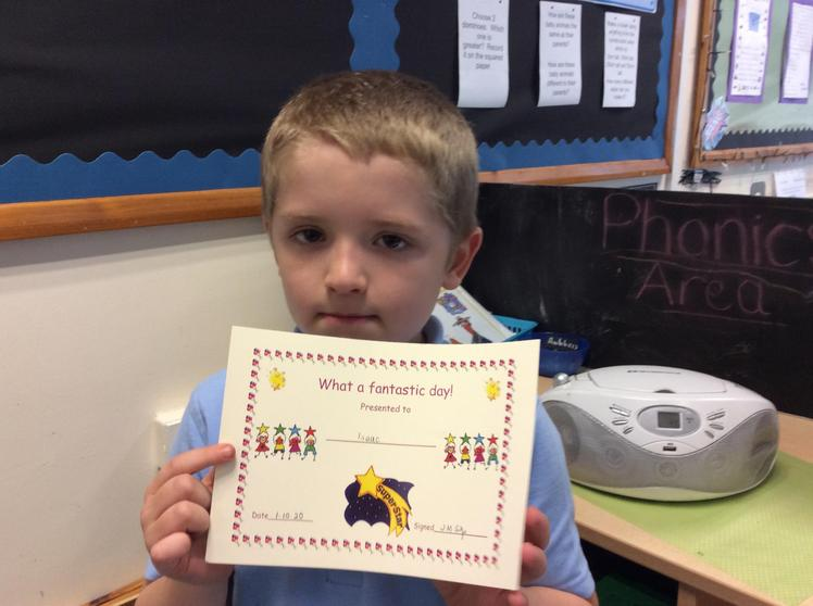 Week 4 - Issac for being on task all day! Well done!