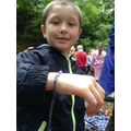 Harvey shows off his Forest School band.