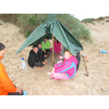 We built shelters on the beach in case of rain.