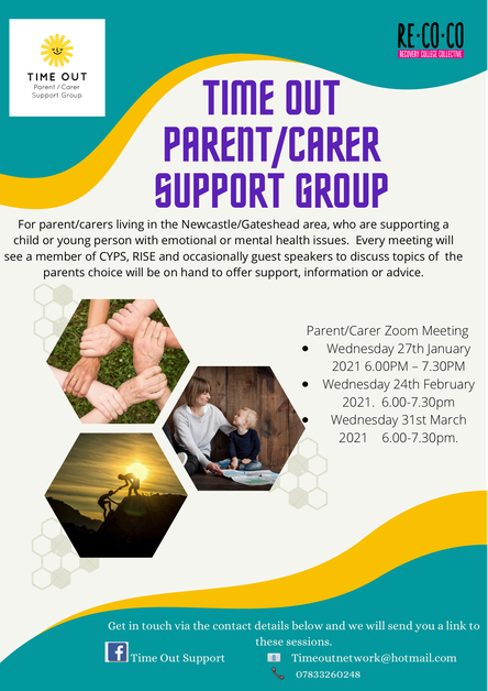Poster for Time Out Parent/Carer Support Group