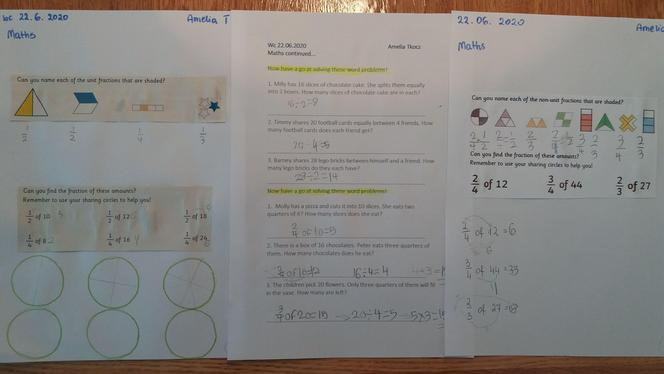 Amelia's wonderful fraction work!