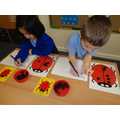 Ladybird maths-put spots on each half...