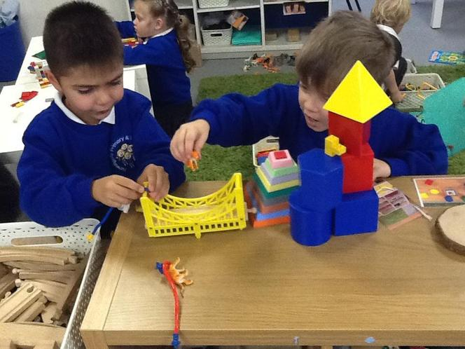 Using the Maths and Construction materials!