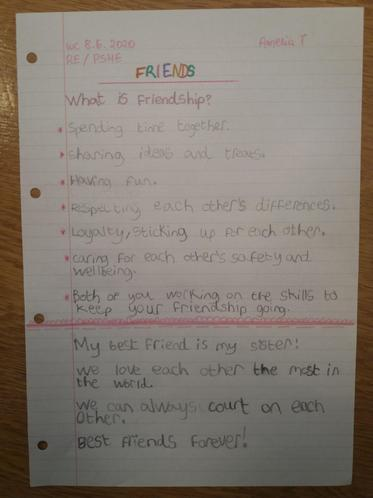 Amelia T's beautiful 'Best Friend Day' reflection!