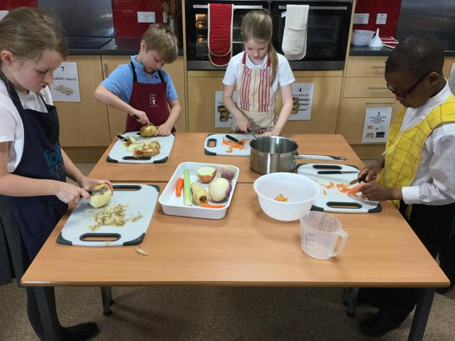 We worked well as a group to prepare of food