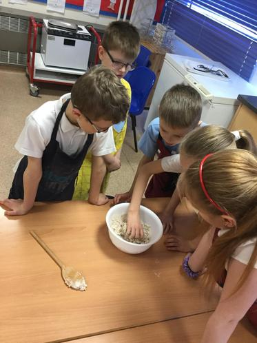 We kneaded the dough to create our Stone Age bread