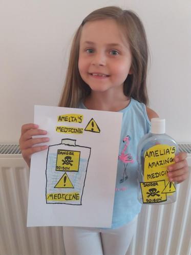 Amelia's marvellous medicine design and bottle!
