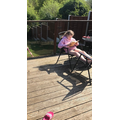 Reading on the decking!