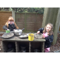 Marevllous meals in the mud kitchen!