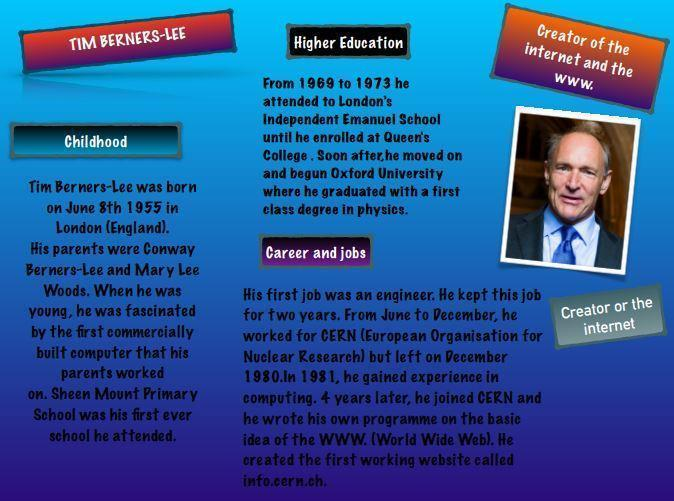 Tim Berners-Lee provided us the world wide web