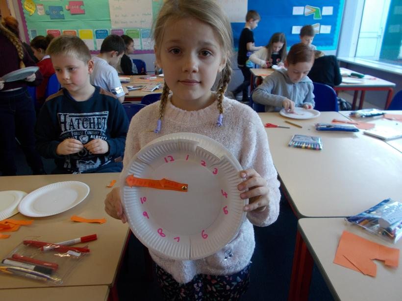 We made clocks to help tell the time.