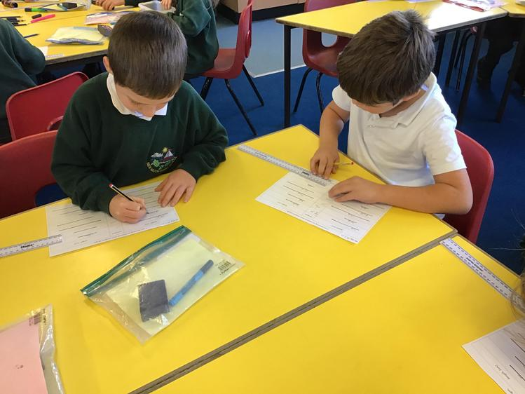 Practising using a ruler to measure lines