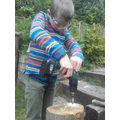 Thomas making his bee hotel