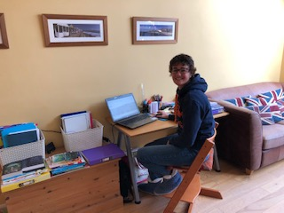 Mrs H setting your work from home!