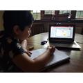 Krissh working hard at his maths.