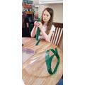 Olivia making visors
