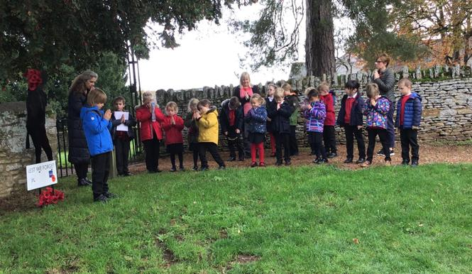 Children led the Act of Remembrance outside church.