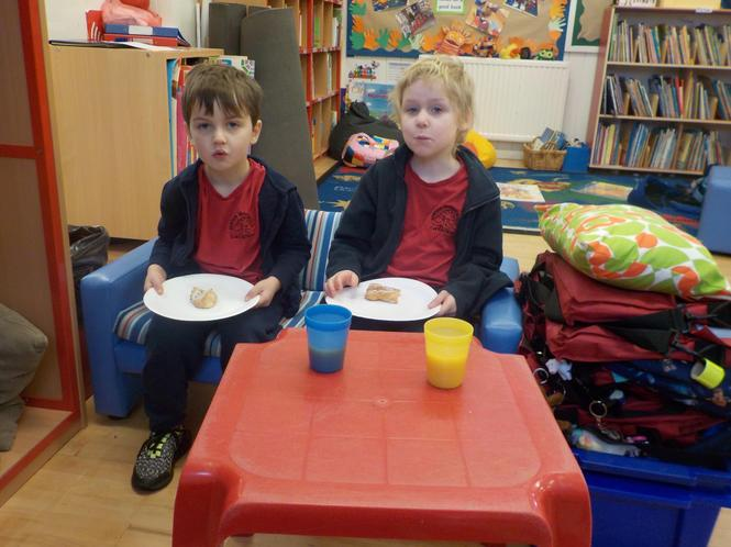 Enjoying a morning treat in the reading cafe!