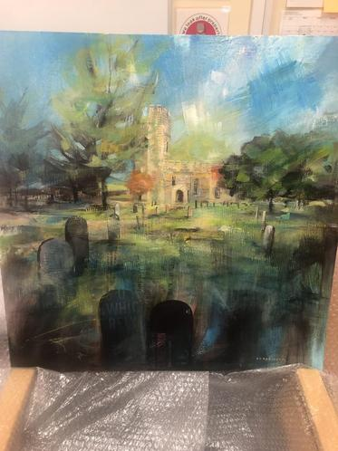 Our beautiful church in mixed media.