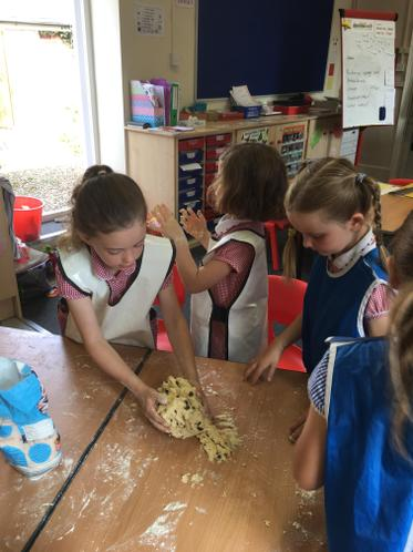 Kneading the dough for scones.