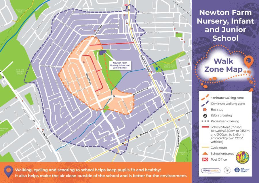 Newton Farm Walk to School Map