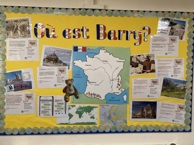 Whole School French Display - Where in France is Barry?