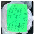 Thank you notes left for the refuse collectors.