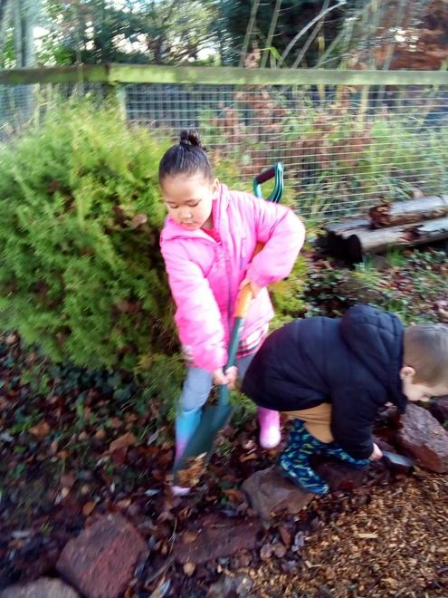 Using large tools with good motor skills.