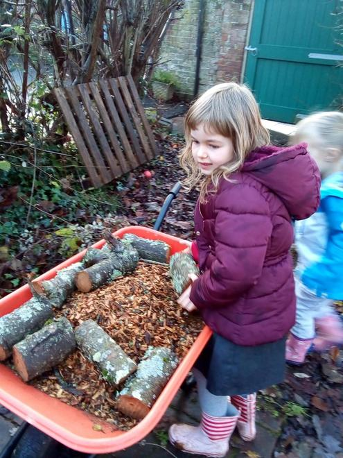 Getting busy making a path for our garden.