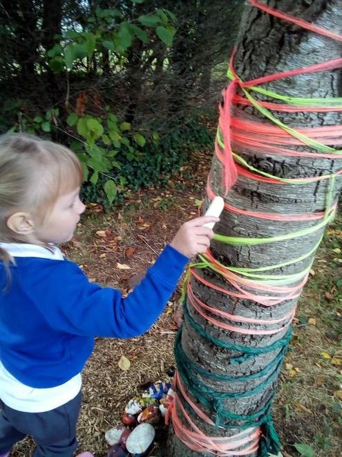 decorating our fairy tree.