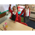 Some children made fishing games using magnets.
