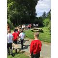 Marching to the air raid shelter singing 'Run Rabbit'