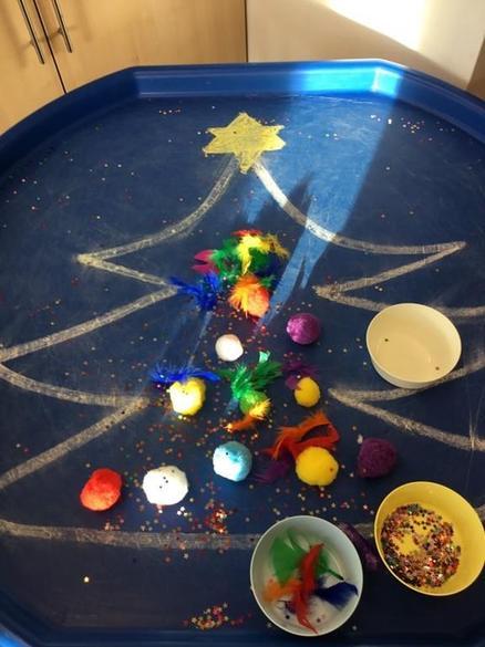 Decorating a Christmas tree using fine motor skills