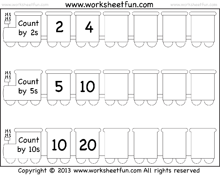 Counting in steps of 2, 5, 10 and 3