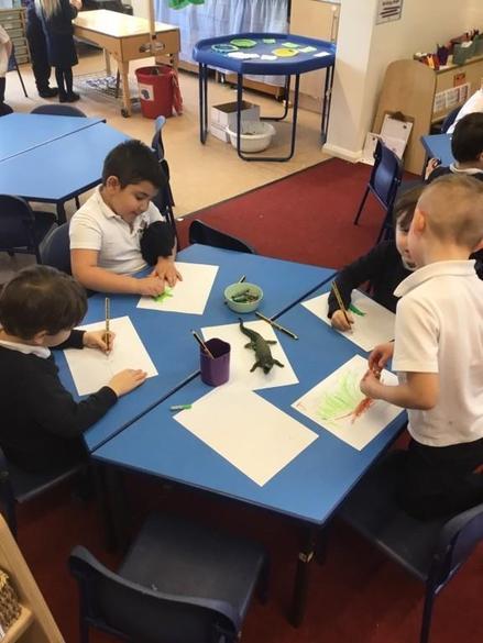 Carefully drawing crocodiles