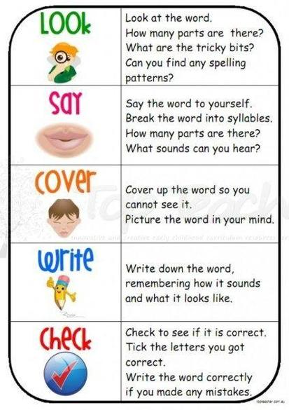Look, say, cover, write, check sheets are great way to practice spellings.