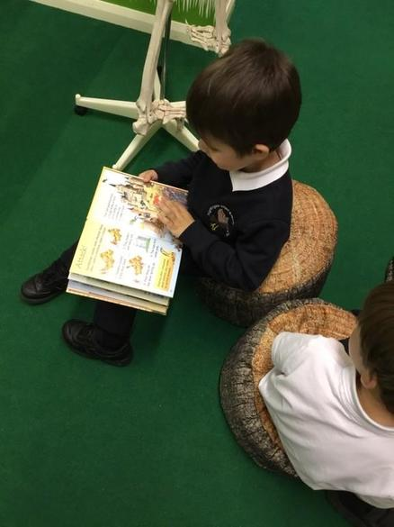 Reading in our school library